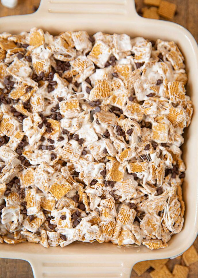 Baking Dish of S'mores Cereal Bars