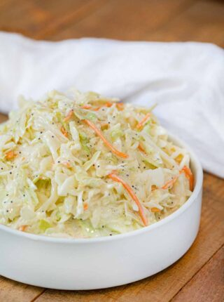 Sweet Coleslaw in white bowl