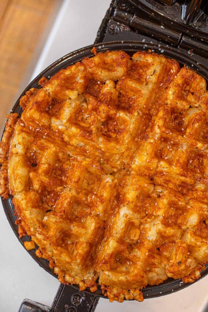 Tater Tot Waffles in belgian waffle maker