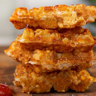 Tater Tot Waffles in a stack
