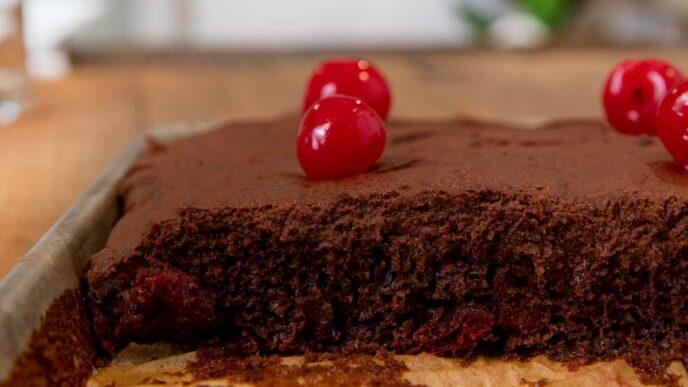 Texas Sheet Cake with Maraschino Cherries