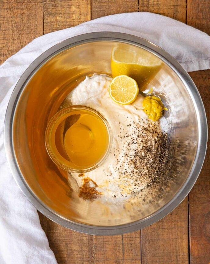 Alabama White Sauce ingredients in metal bowl