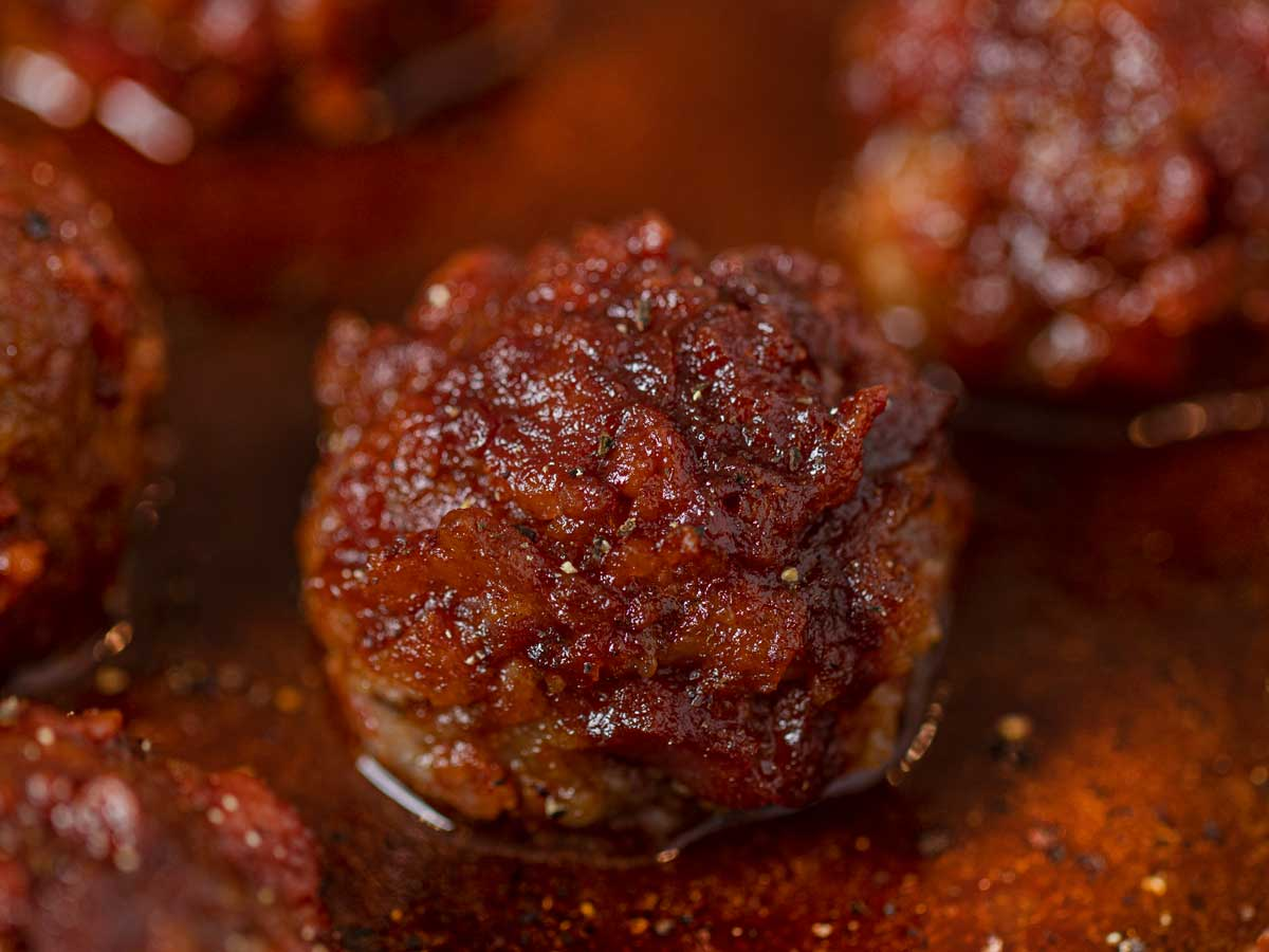 BBQ Bacon Meatballs in pan