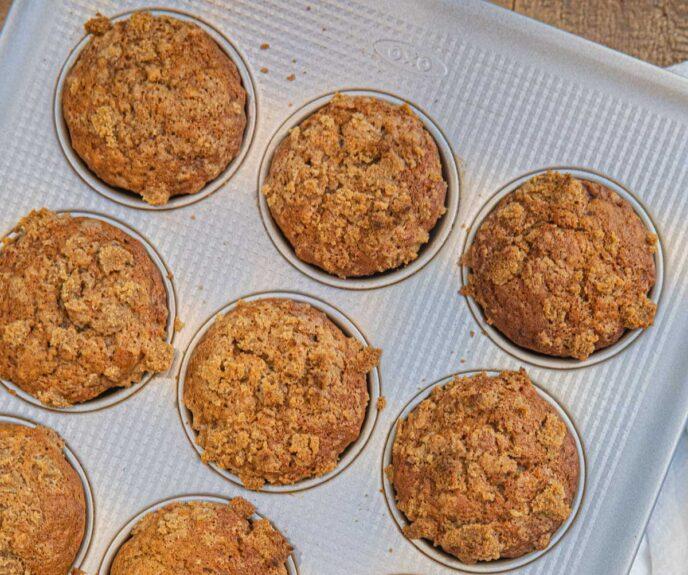 Banana Crumb Muffins in muffin tin
