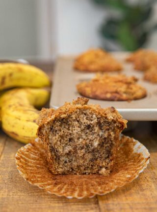 Banana Crumb Muffin with bite removed