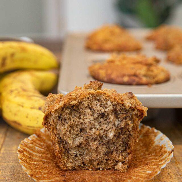Banana Crumb Muffin with bite removed