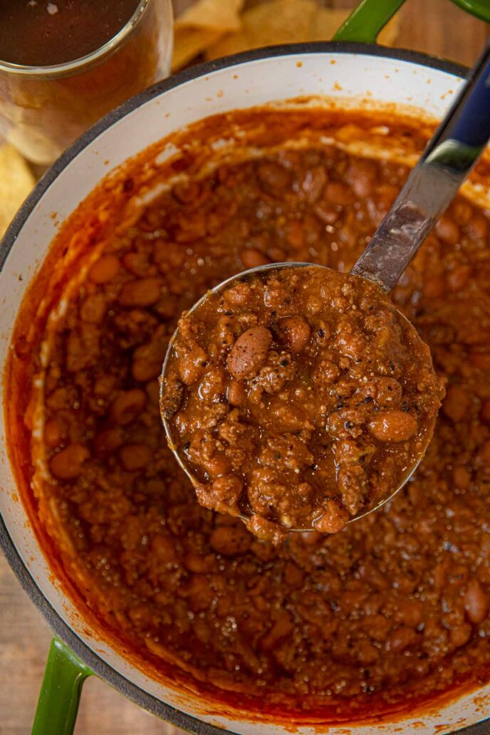 Beef and Beer Chili scoop in ladle