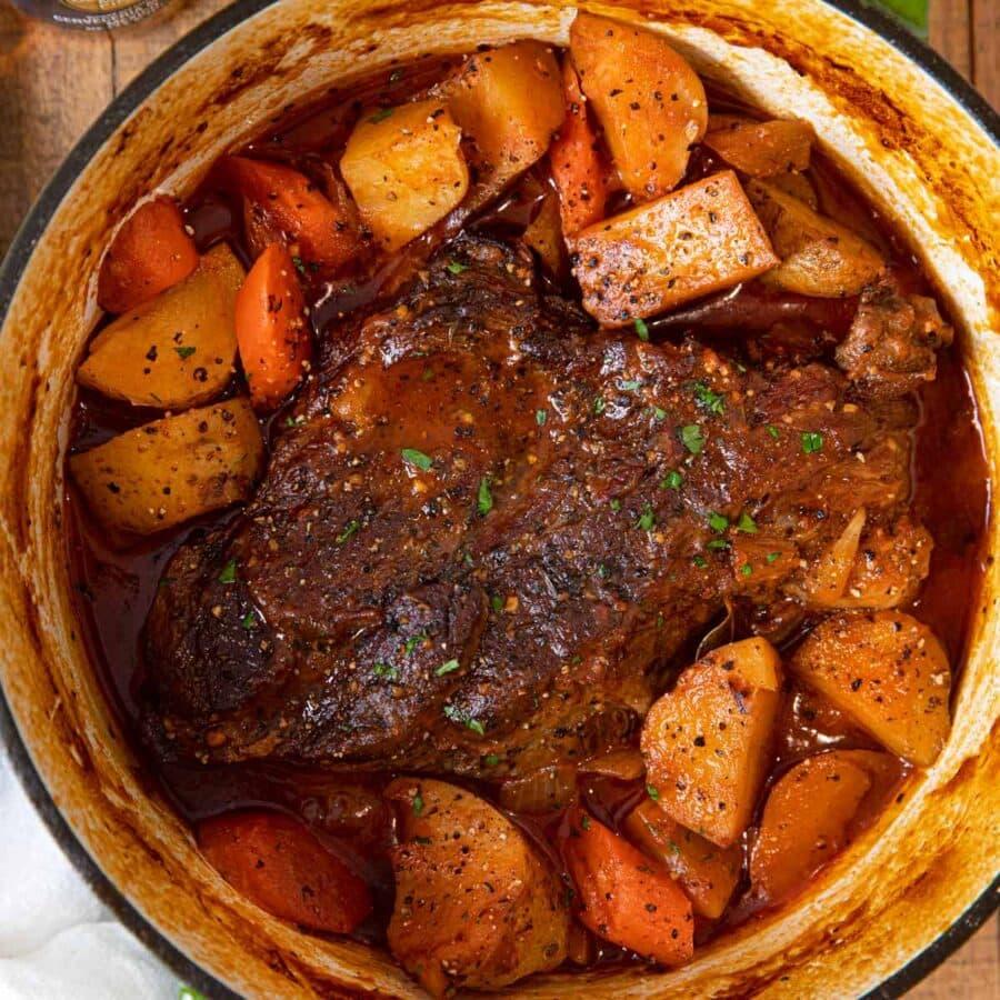 Beer Braised Pot Roast in pot