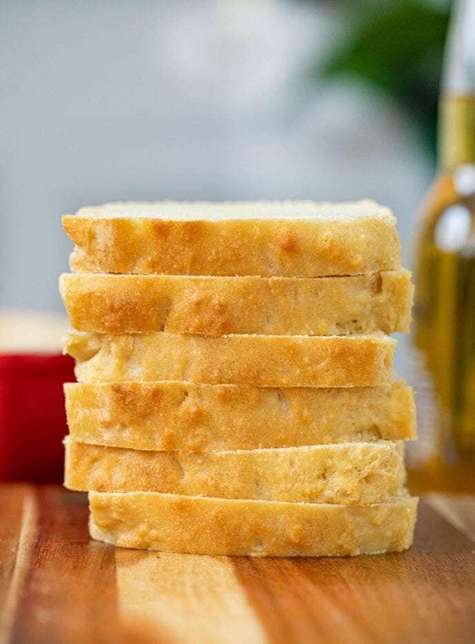 Beer Bread slices in stack