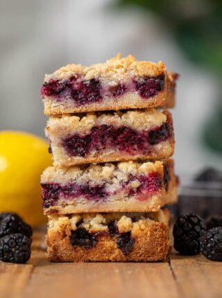 Blackberry Crumb Bars in stack