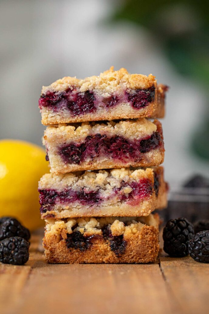 Blackberry Crumb Bars in stack