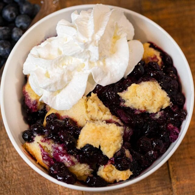 Blueberry Cobbler in bowl