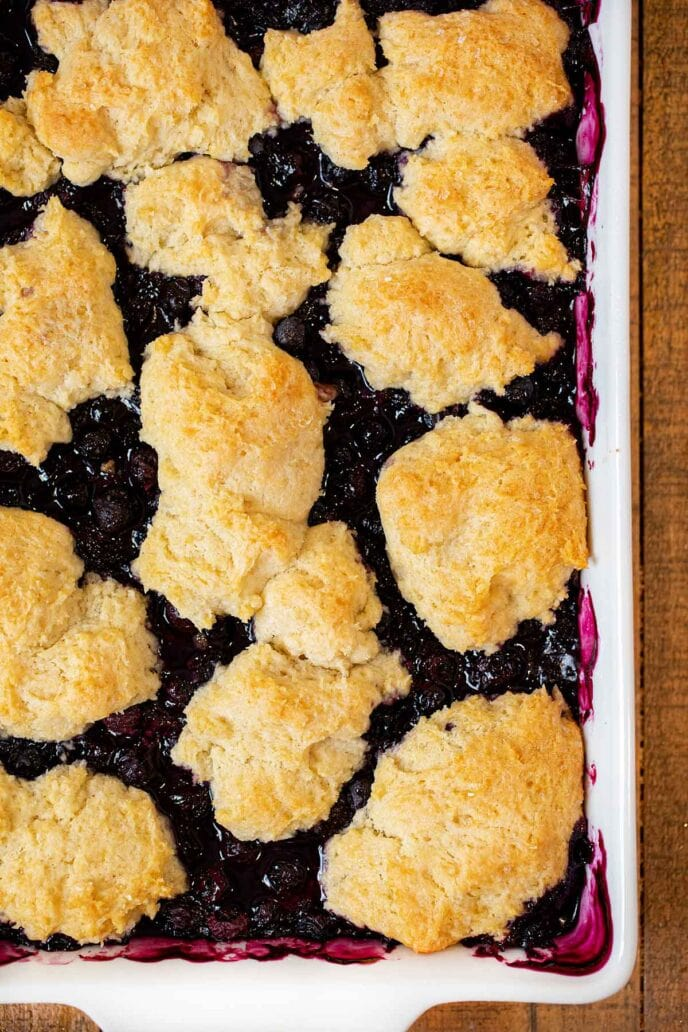 Blueberry Cobbler in baking dish, close up