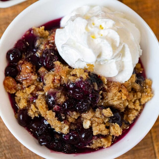 Blueberry Crisp serving on plate