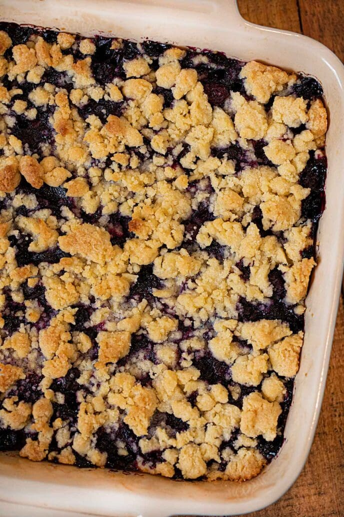 Blueberry Crumb Bar in baking dish