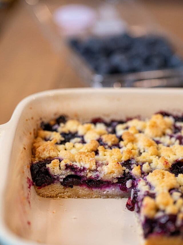 Blueberry Crumb Bar in baking dish