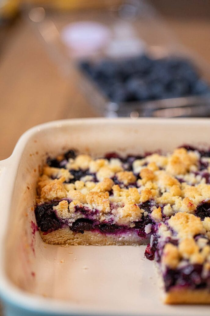 Blueberry Crumb Bars in baking dish