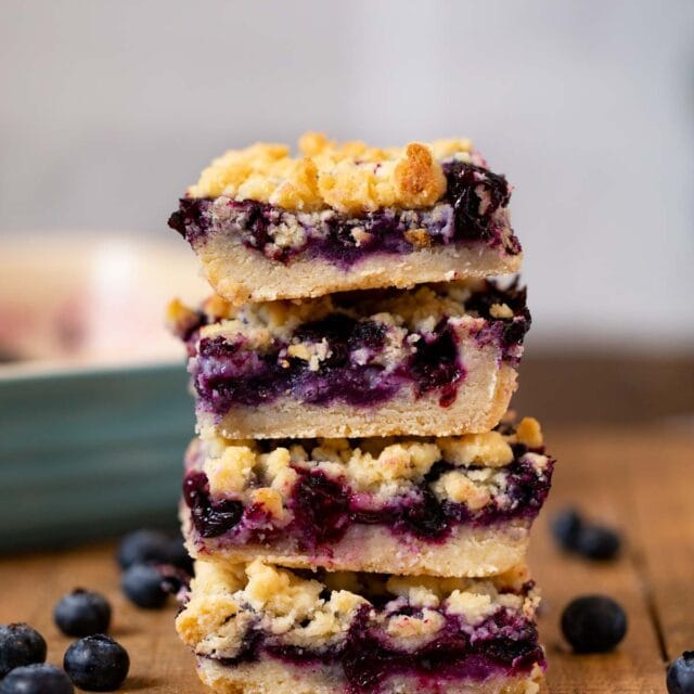 Blueberry Crumb Bars in stack