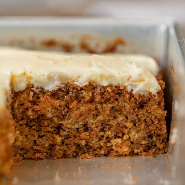 Carrot Sheet Cake in baking pan