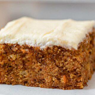 Carrot Sheet Cake slice on plate