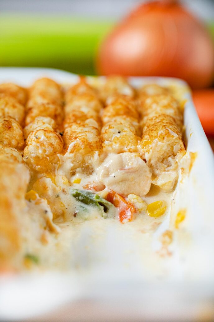 Tater Tot Chicken Pot Pie in baking dish, inside view