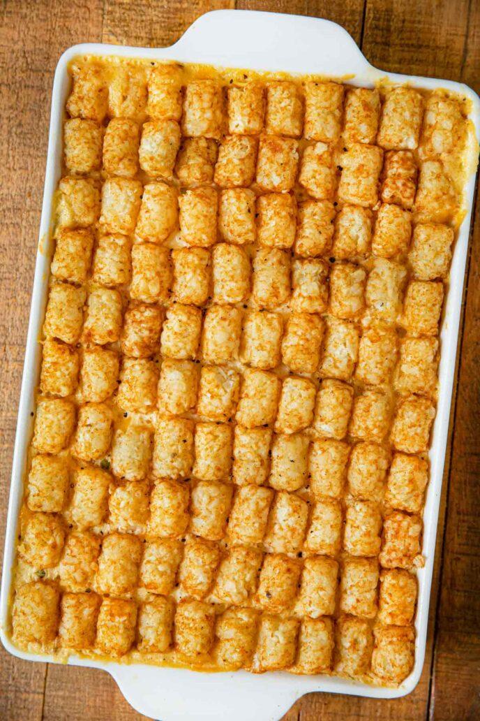 Chicken Tot Pie uncut in baking pan