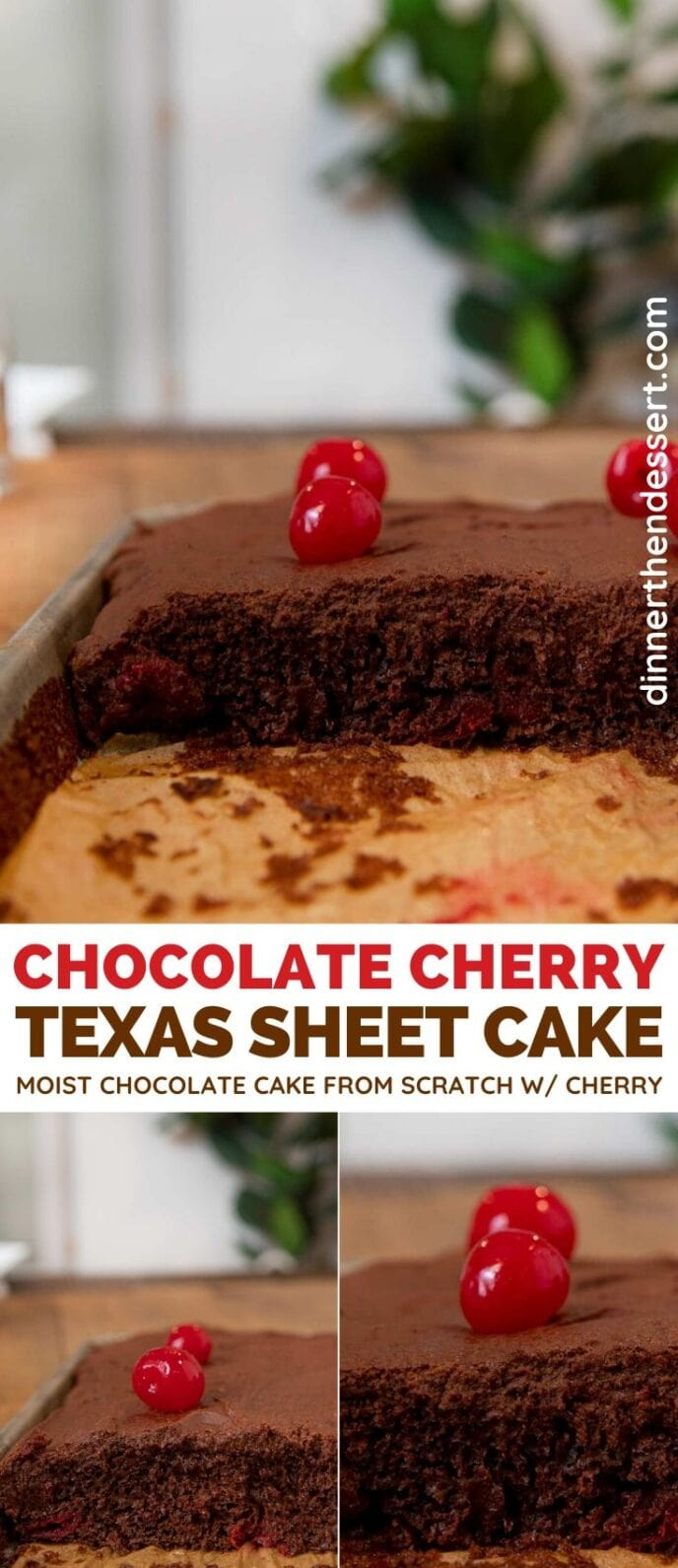 Chocolate Cherry Texas Sheet Cake collage