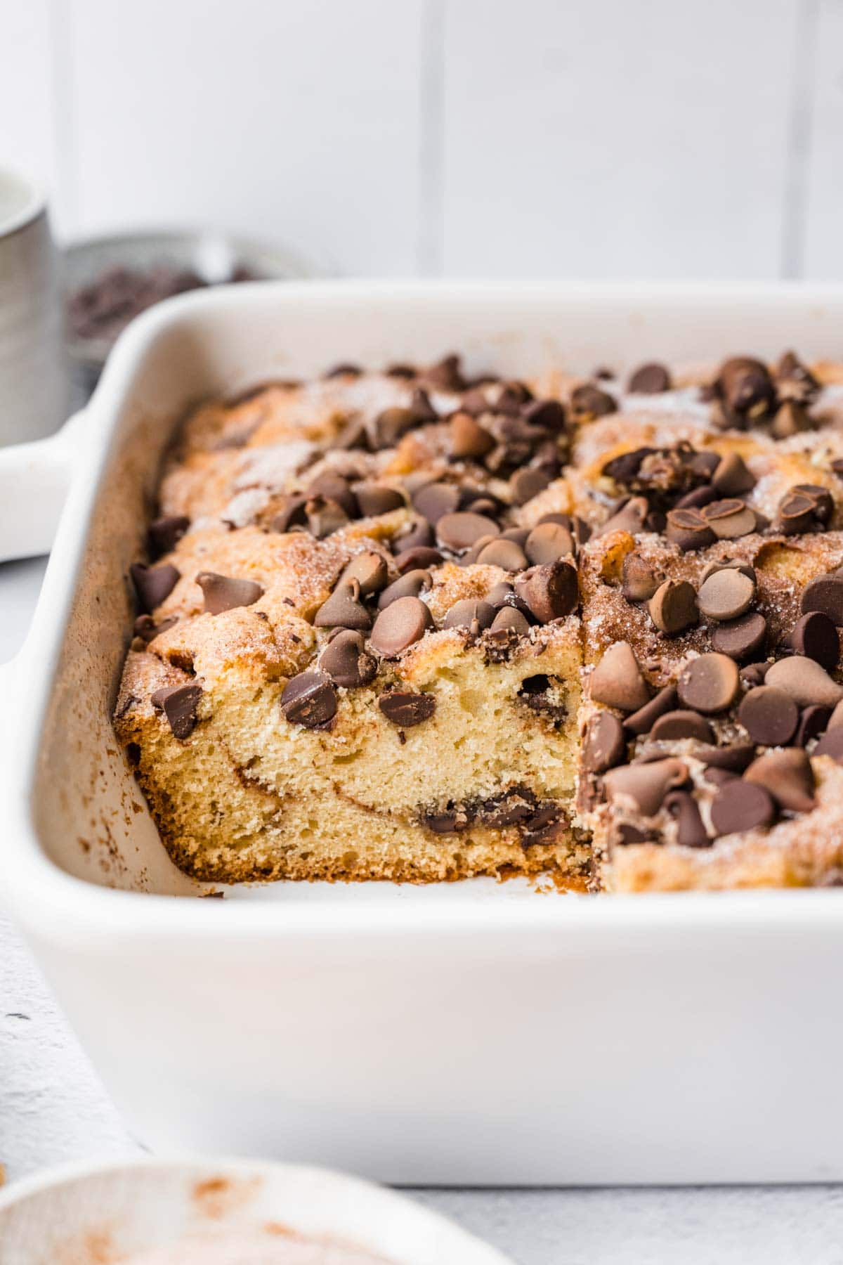 Chocolate Chip Coffee Cake sliced in baking pan