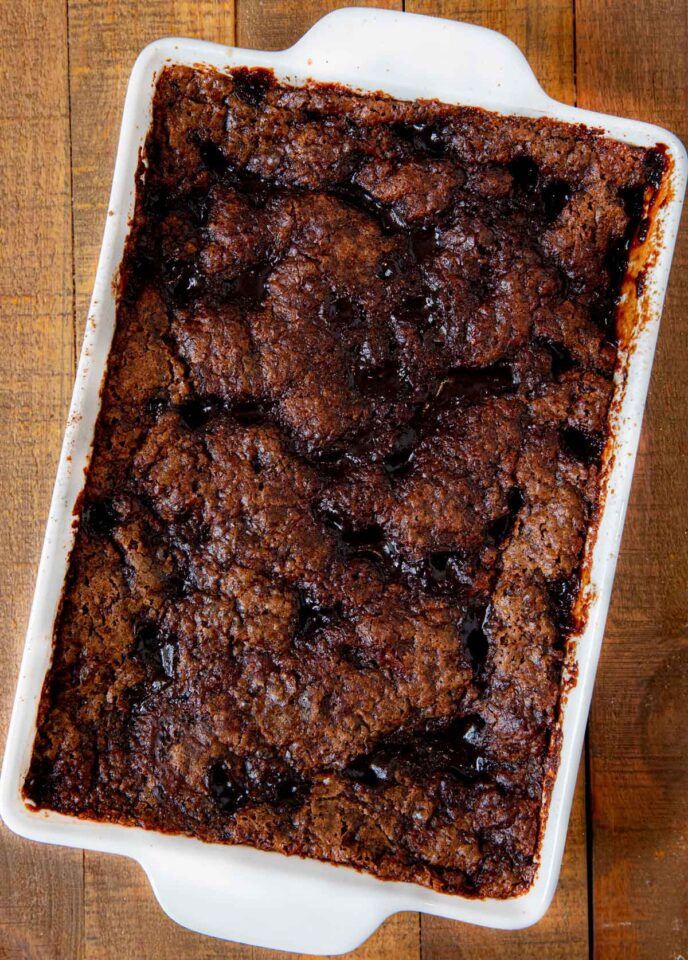 Chocolate Cobbler in baking dish