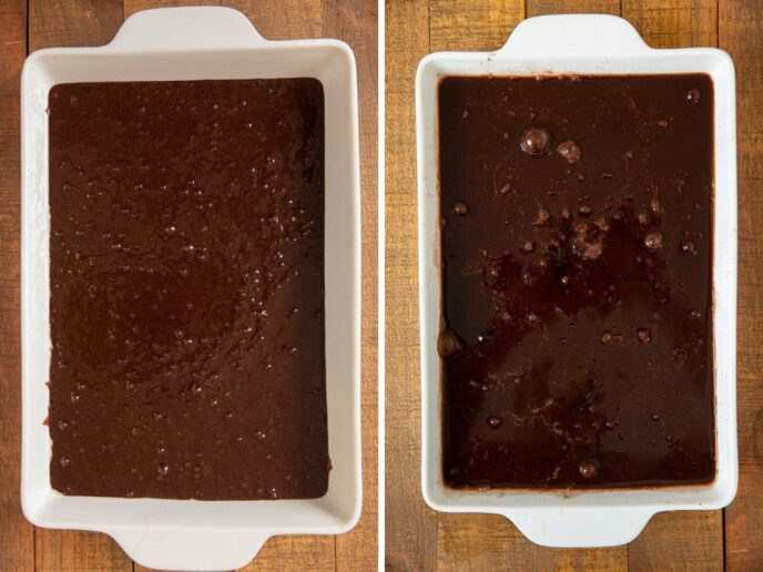 Chocolate Cobbler before and after adding warm water
