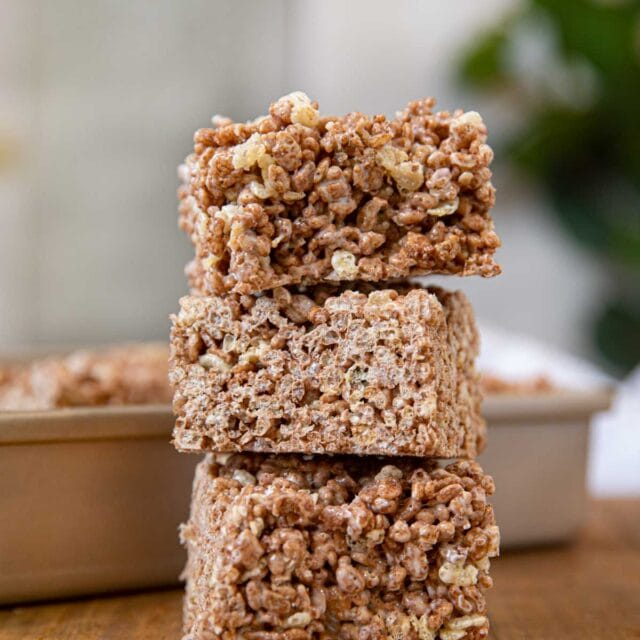 Chocolate Rice Krispies in stack