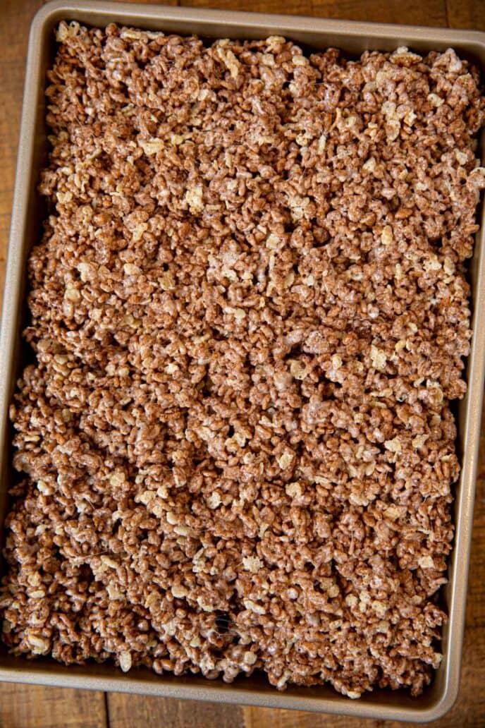 Chocolate Rice Krispies in baking pan before slicing