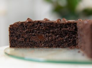 Chocolate Yogurt Cake on cake stand