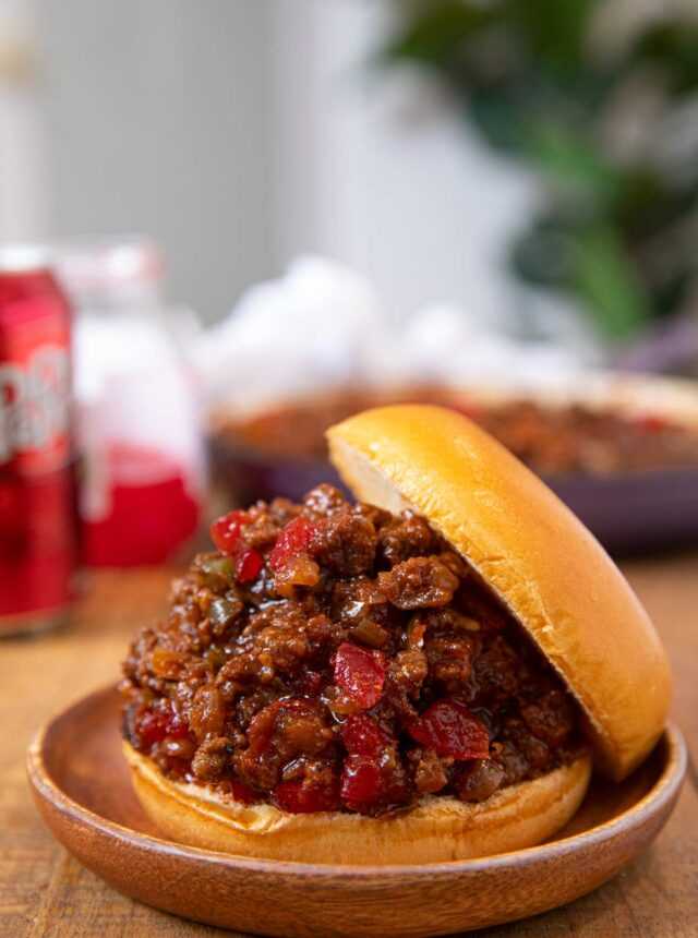 Dr. Pepper BBQ Sloppy Joes sandwich on plate