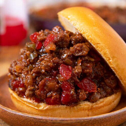 Dr. Pepper BBQ Sloppy Joes sandwich on plate