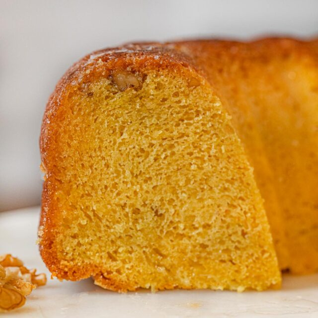 Easy Rum Cake on cake stand