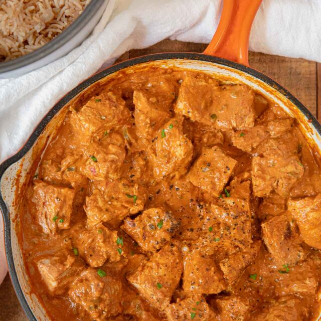 Indian Butter Chicken sliced chicken pieces in sauce