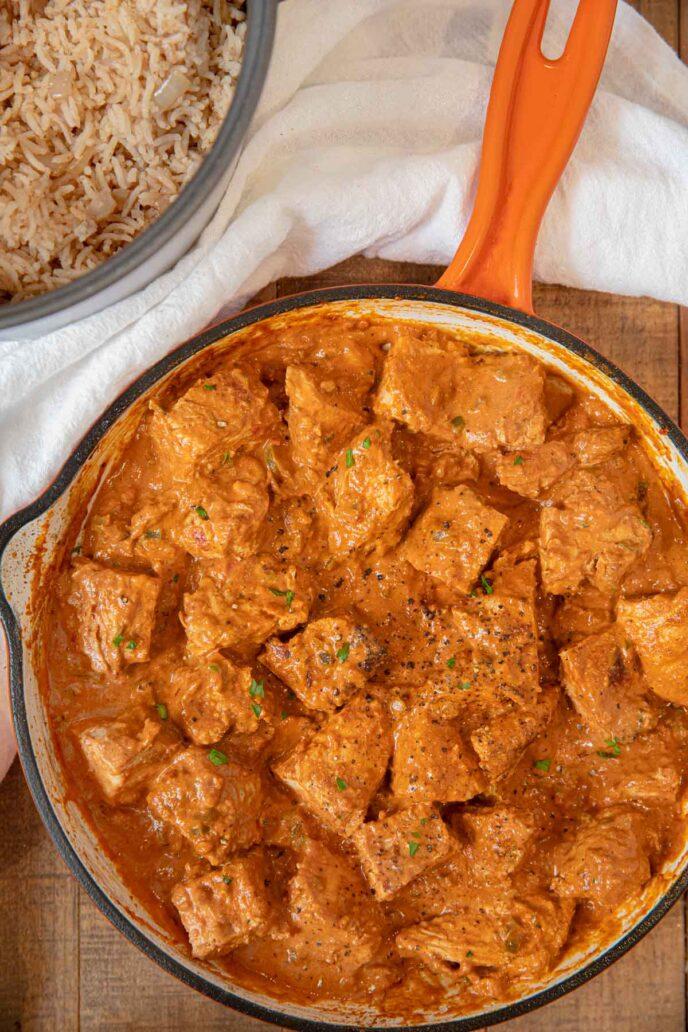 Indian Butter Chicken sliced chicken pieces in sauce