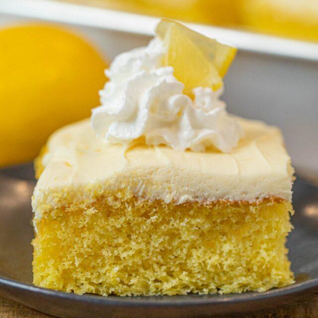Lemon Sheet Cake slice on plate