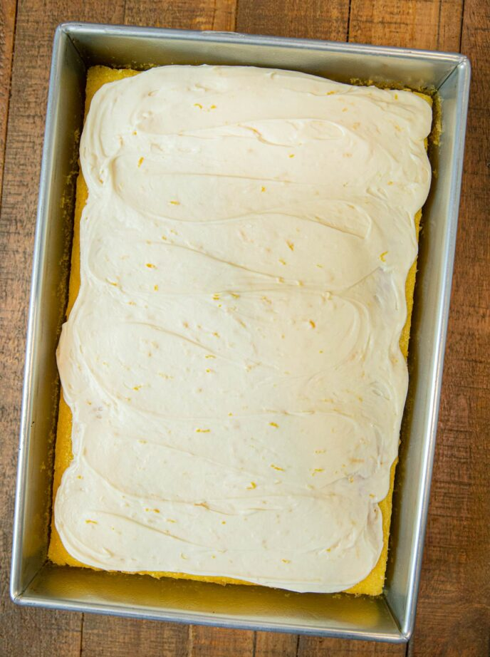 Lemon Sheet Cake in baking pan