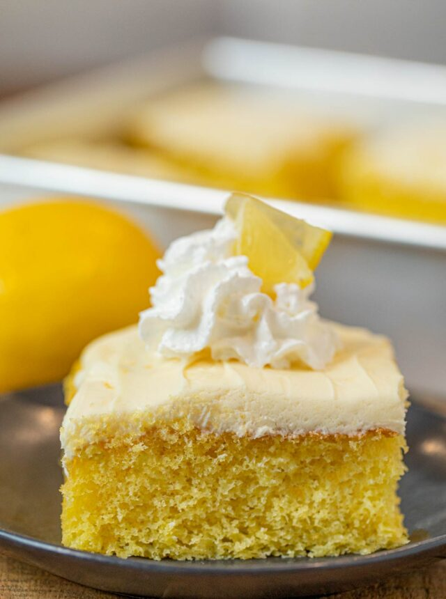 Lemon Sheet Cake slice on plate