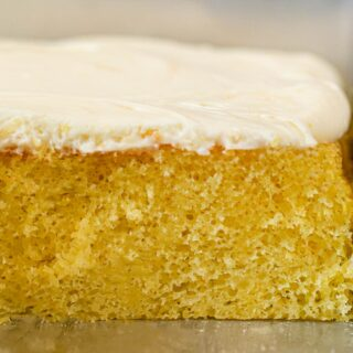 Lemon Sheet Cake cross section in baking pan