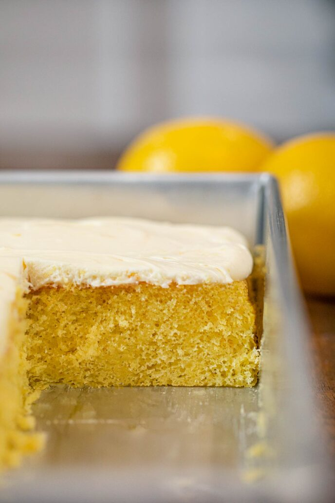 Lemon Sheet Cake cross section in baking pan