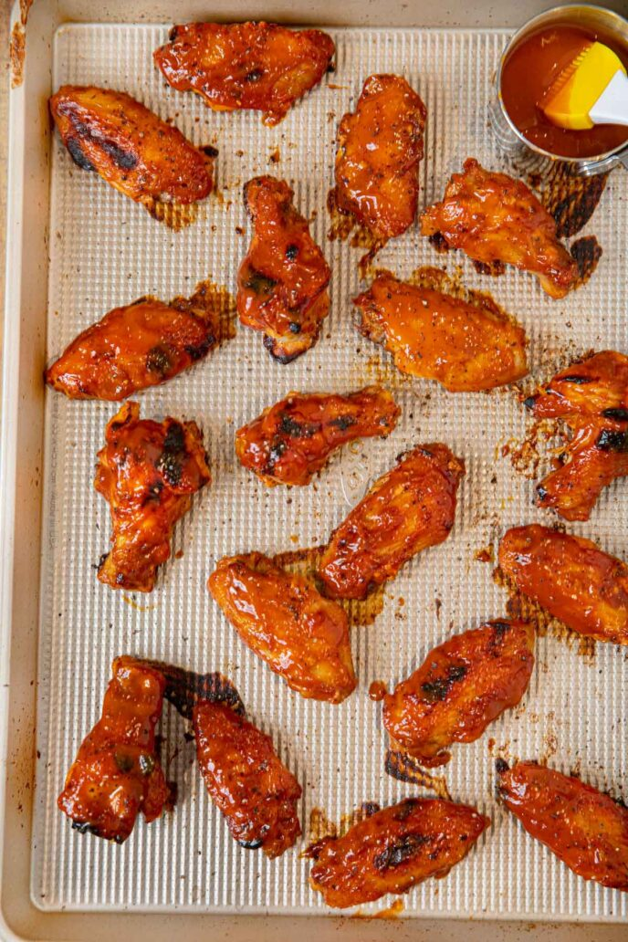 Memphis BBQ Chicken Wings on baking sheet