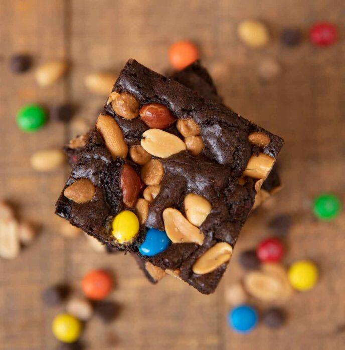 Monster Brownies in stack, top-down view