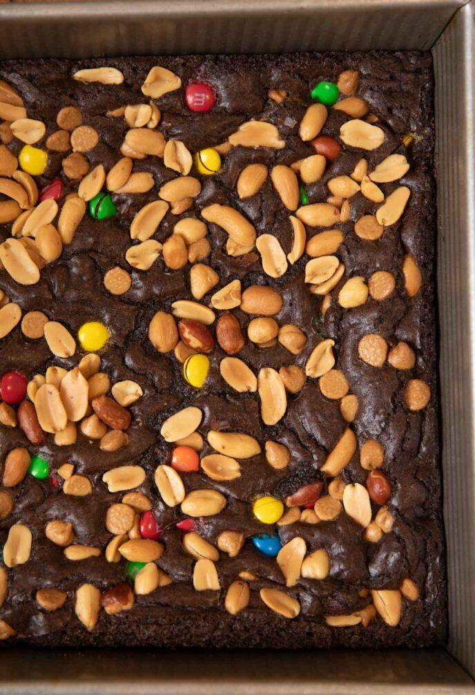 Monster Brownies in baking dish