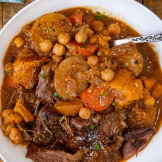 Moroccan Chickpea Pot Roast serving in bowl