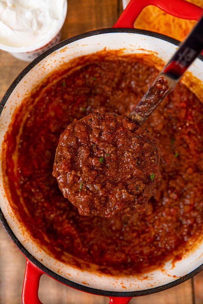 Oklahoma Chili scoop in ladle