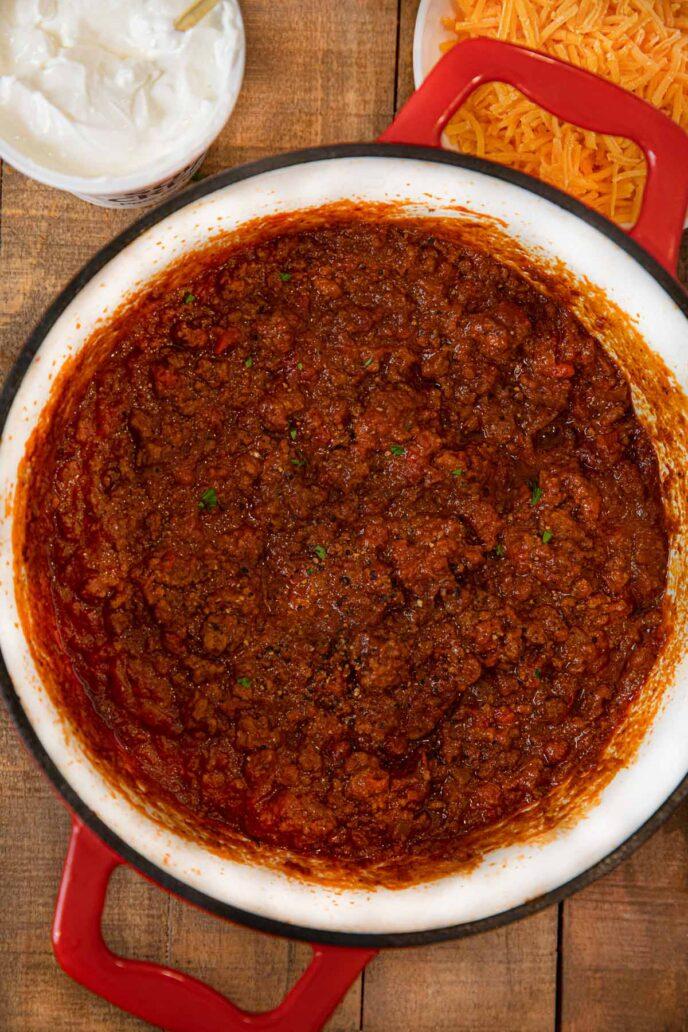 Oklahoma Chili scoop in pot