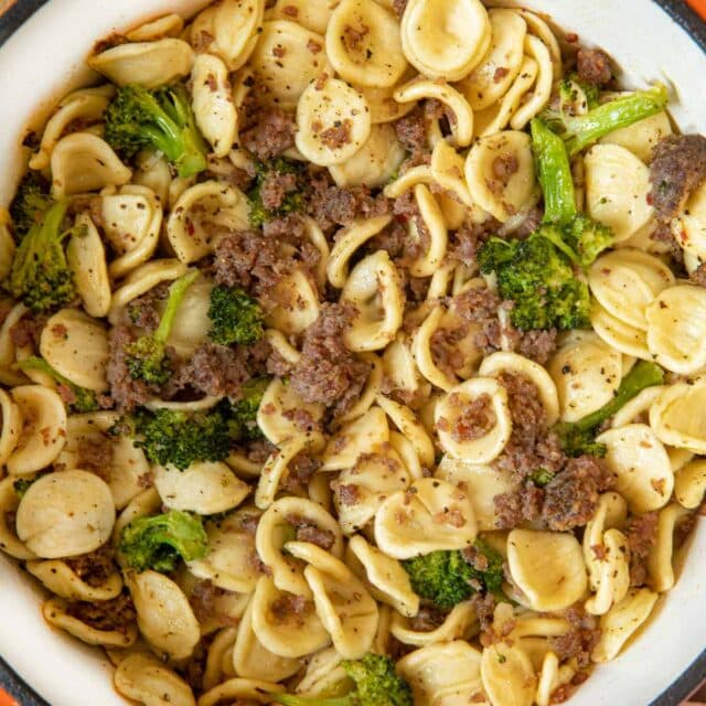 Orecchiette with Sausage and Broccoli in bowl